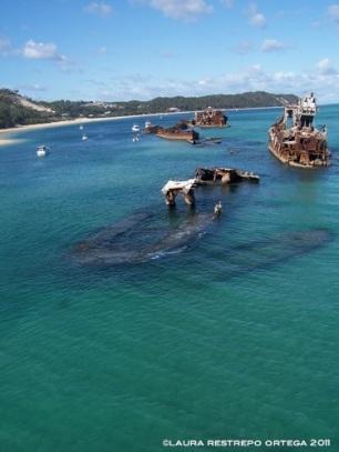 australia moreton island sunken boats 2