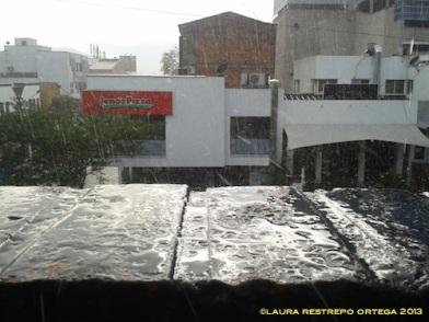 lluvia en el muro
