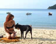 bahia concha - playa - girl, dog 1