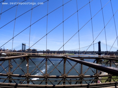 View of the Manhattan Bridge from the Brooklyn Bridge, NY