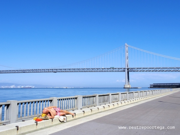 Sunbathing in downtown San Francisco