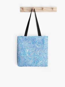 blue doodle-all-over-print-tote-bag